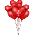 red heart balloons isolated on white background vector image