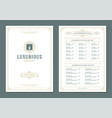restaurant menu design and label brochure vector image vector image