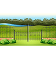 Scene with metal fence in the garden vector image vector image