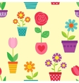 seamless pattern flowers in pots vector image