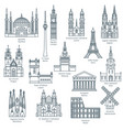 set attractions europe vector image vector image