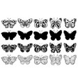set butterflies black and white vector image vector image