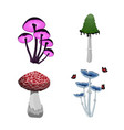 set of fantasy mushroom icons game asset vector image