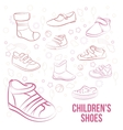 Set of kid s shoes painted lines vector image