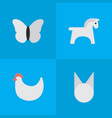 set of simple animals icons elements cock steed vector image
