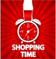Shopping time poster design with alarm clock vector image vector image