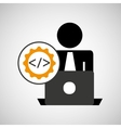 silhouette programmer working laptop coding icon vector image