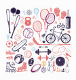 sport sketch equipment hand drawn vector image vector image