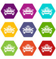 taxi car icon set color hexahedron vector image