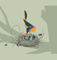 the bird feeds the chicks in the nest vector image
