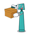 with box otoscope character cartoon style vector image