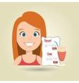 woman cartoon menu food vector image