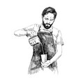 young barista man in pencil vector image vector image