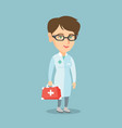 young caucasian doctor holding a first aid box vector image vector image