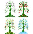 four seasonal tree vector image