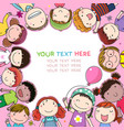 background with cute cartoon kids vector image