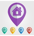 flat pin with home icon vector image