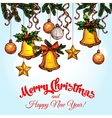 Christmas ornaments on xmas tree sketch poster vector image