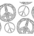 seamless texture with a black and white peace vector image