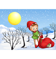 An elf holding a bag of gifts vector image vector image