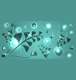 botanical pattern of turquoise plant elements on vector image vector image