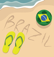 Brazil beach with football and slippers vector image vector image