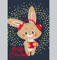 bunny with winter whipped cream hot coffee vector image