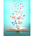 butterfly flying around the book vector image vector image