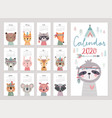 calendar 2020 cute monthly with woodland vector image