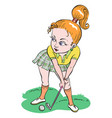 cartoon image of woman playing golf vector image vector image