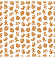 christmas seamless pattern with gingerbread vector image vector image