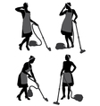 Cleaning Lady With Vacuum Cleaner vector image