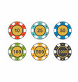 colorful casino chips on white background top vie vector image vector image
