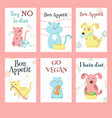 cute pet animals eating food card set vector image