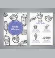 dairy sweet set cards collection hand drawn vector image vector image