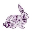 decorative rabbit greeting card vector image