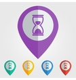 flat pin with hourglass icon vector image vector image