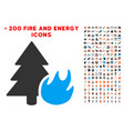 forest fire icon with bonus fire clipart vector image