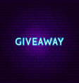 giveaway neon sign vector image vector image