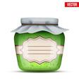 glass jar with kiwi jam vector image vector image