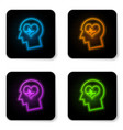 glowing neon male head with a heartbeat icon vector image