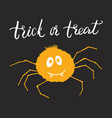 halloween greeting card design cute spider vector image vector image