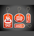 halloween sale concept design tags set red vector image