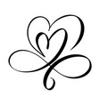 hand drawn two heart love sign romantic vector image vector image