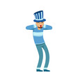 happy football fan character in blue hat vector image vector image