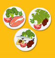 healthy food menu icons vector image vector image