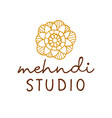 henna mehndi logo traditional mandala vector image vector image