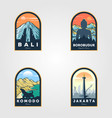 indonesian travel logo set vintage design vector image