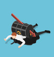 isometric falling red arrow piercing through oil vector image vector image