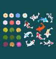 koi fish and lotus japanese carp flowers vector image